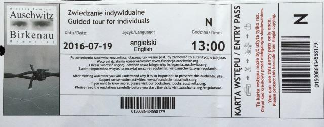 Today's ticket to the Auschwitz-Birkenau State Museum