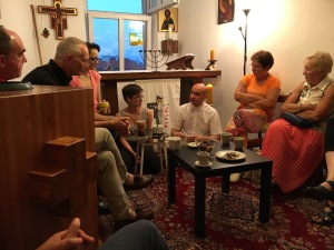 Art, Bishop Francis, two Polish colleagues, Fr. Tomasz, and two Belgian colleagues